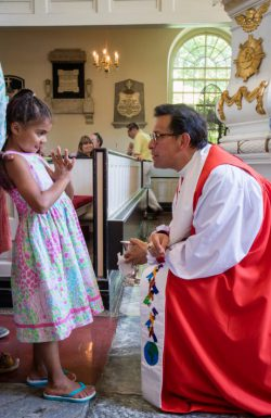 Young parishioners during communion