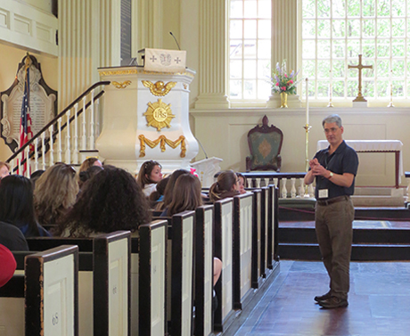 Tour group in Christ Church pews